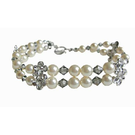 Black Diamond Crystals Cream Pearls Double Stranded Bracelet