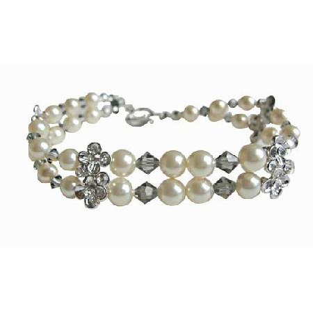 Black Diamond Crystals Cream Pearls Double Stranded Bracelet