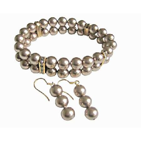 Bronze Pearl Bracele Earrings Jewelry Set Double Strands 8mm Bronze Pearls Stretchable Bracelet Gold Rondells w/ Earrings