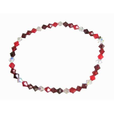 Siam Red Garnet Clear Crystals Stretchable Bracelet