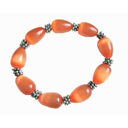 Orange Teardrop Soothing Stretchable Bracelet Light Dark Shade Jewelry