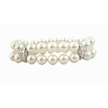 Double Stranded 8mm White Pearls w/ Silver Rondells