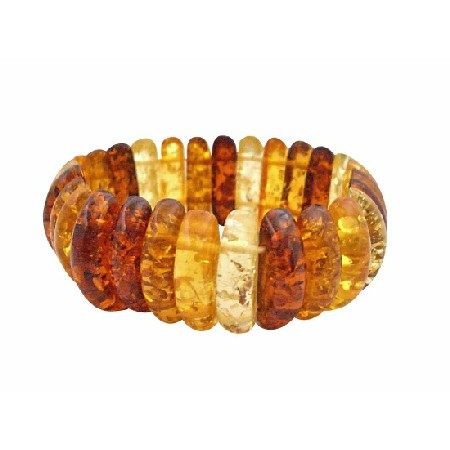 Stretchable Bracelet Simulated Amber Oval Beads Stretchable Bracelet