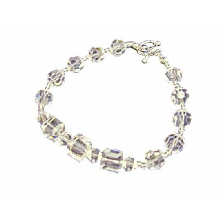 Round Clear Crystal Beads Cube Clear Crystal Bracelet 8mm Cube Round w/ Bicone 4mm Clear Crystals Bracelet