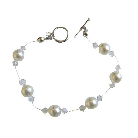 Clear Crystals & White Pearls Wire Bracelet w/ Toggle Clasp