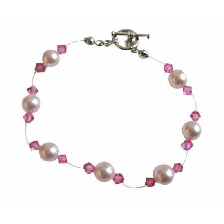Rose Pink Crystals Pearls Bracelet Bridal Bracelet