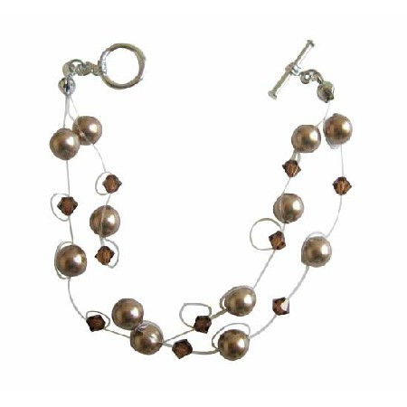 Double Stranded Bronze Pearls Crystals & Pearls Bracelet