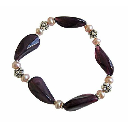 Amethyst Glass Bead Bracelet w/ Freshwater Pearls & Bali Silver Spacer