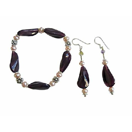 Amethyst Glass Beads Fancy Bracelet & Earrings w/ Freshwater Pearls