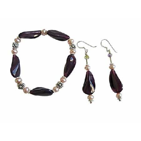 Amethyst Glass Beads Fancy Bracelet & Earrings w/ Freshwater Pearls