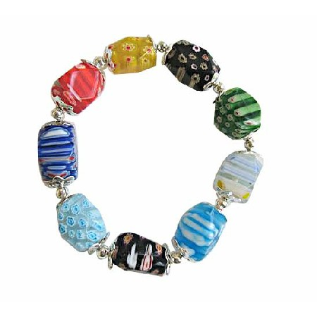 Colorful Millefiori Beads Stretchable Bracelet w/ Bali Silver Spacer
