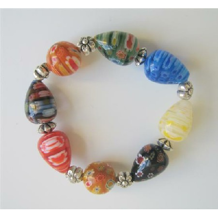 Assorted Millefiori Colorful Beads Stretchable Bracelet w/ Bali Silver