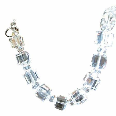 Clear Crystal Cube Bracelet 8mm Cube w/ Bicone 4mm Clear Crystals Bracelet