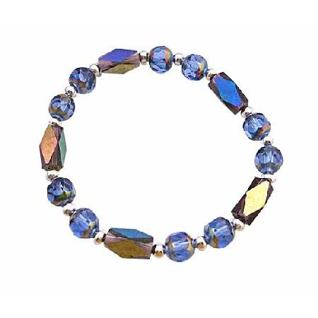 Glass Bead Rainbow Beads w/ Sparkling Geometrical Bicone Bead Bracelet