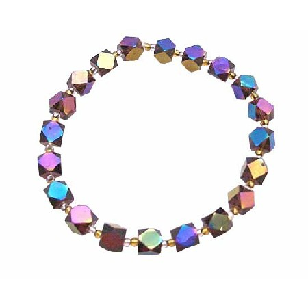 Geometrical Beads Bracelet Cuboids & Bicone Shaped Beads Not Plastic