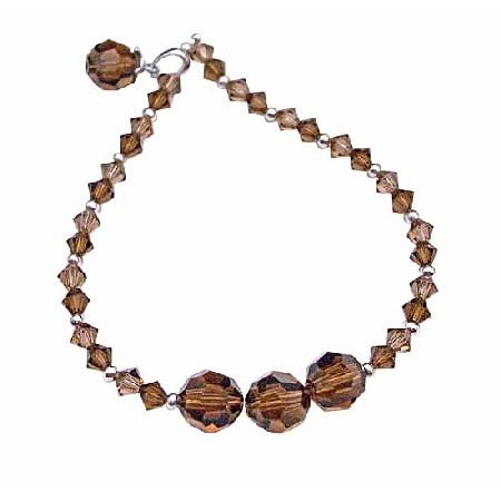 Smoked Topaz w/ Dangling Round Bicone Crystals Bracelet