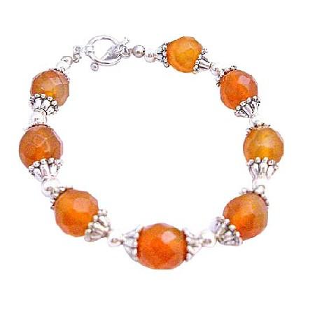 Multifaceted Carnelian 9mm Beads Bracelet Bali Silver Trendy Bracelet