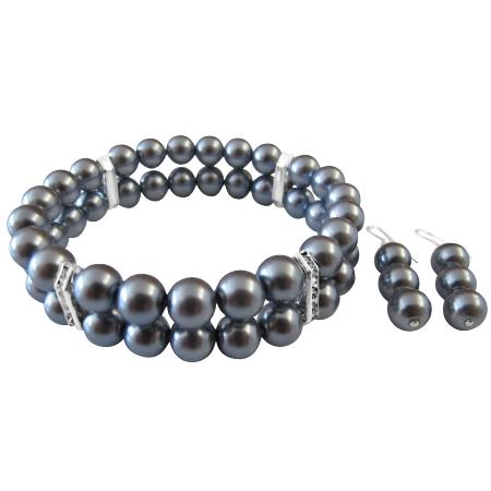 Wedding Bracelet Bridesmaid Grey Pearls w/ Sterling Silver Earrings
