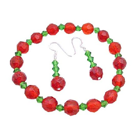 Christmas Jewelry Red Green Glass Beads Stretchable Bracelet Earrings