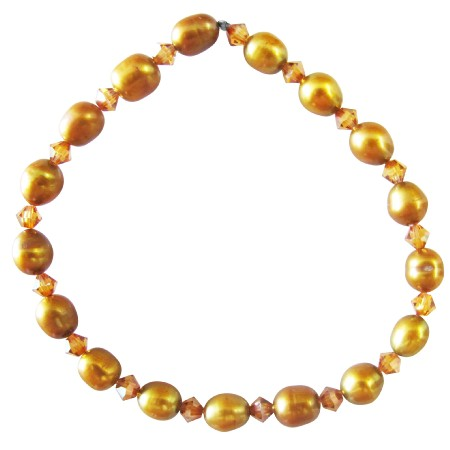 Rice Shaped Copper Golden Freshwater Pearls Stretchable Bracelet