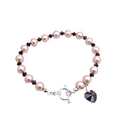 Champagne Pearls Garnet Crystals w/ Siam Red Heart Dangling Bracelet Pearls & Crystal