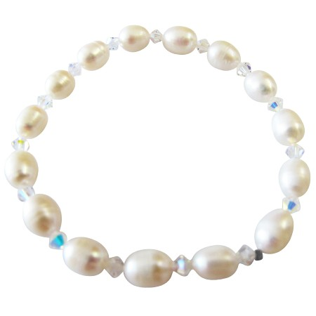 Freshwater Pearls Stretchable Bracelet w/ AB Crystals