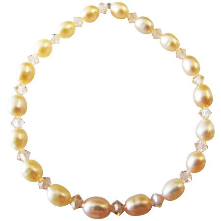 Peach Freshwater Pearls Peach Crystals Stretchable Bracelet