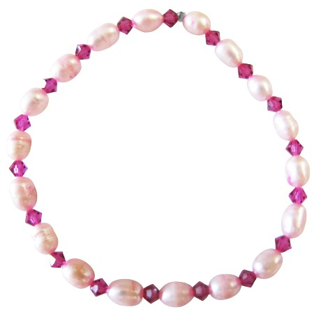 Pink Fuchsia Freshwater Pearls Rice Shaped Crystals Bracelet
