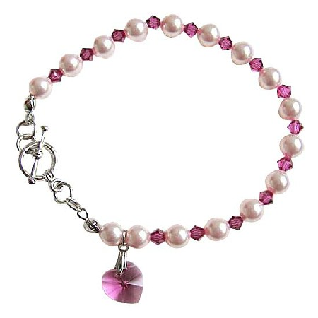 Rose Pink Pearls Fuchsia Crystals Gorgeous Bracelet w/ Pink Heart Dangling Bracelet Pearls & Crystal