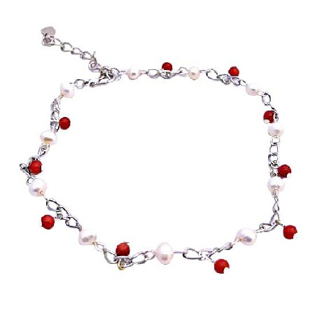 Red Beads & Freshwater Pearls Bracelet Red & white Bracelet