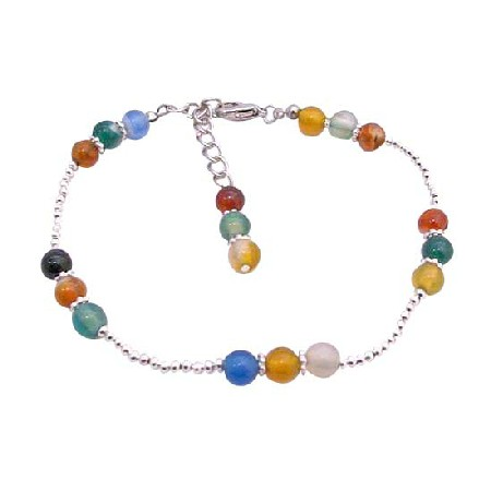 Multi Colored Glass Beads Bracelet