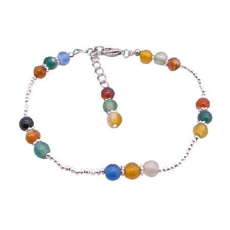 Multi Colored Glass Beads Bracelet