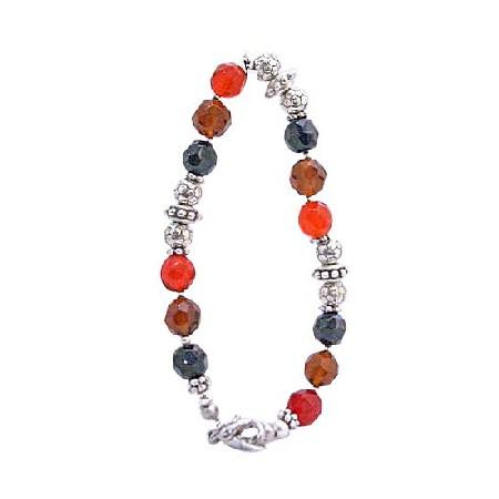Glass Beads Red Onyx Topaz Brown Bracelet w/ Flat Silver Daisy Spacer