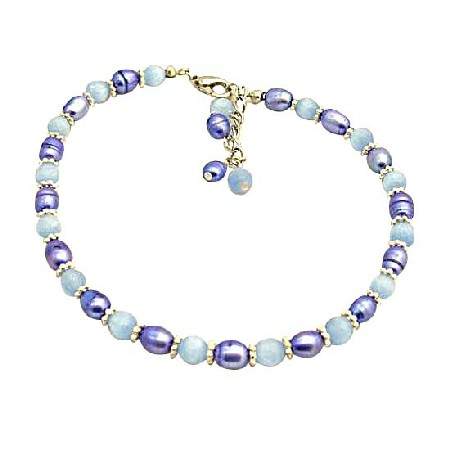 Tanzanite Dyed Rice Pearls w/ Lavender Faceted Cat Eye Bracelet