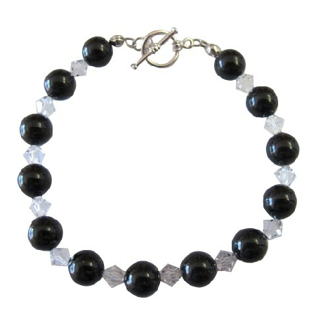 Mystic Pearls Bracelet w/ Clear Crystals Bracelet Crystal & Pearl Jewlery