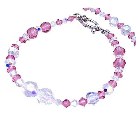 AB Crystals & Rose Crystals Hanmade Bracelet