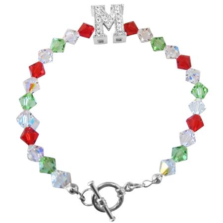 M Charm Bracelet Swoarovski Siam Red Peridot & AB Crystal Bracelet 6mm Crystals Bicone Bracelet