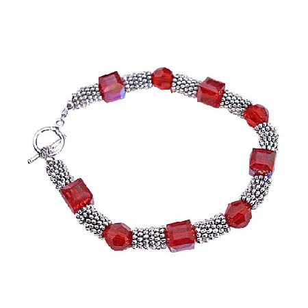 Siam Red Crystal Cube & Round 8mm Crystals Bali Silver Spacer Bracelets
