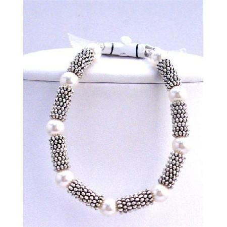 White Pearls Bracelet w/ Bali Silver Gorgeous Handmade Bracelet