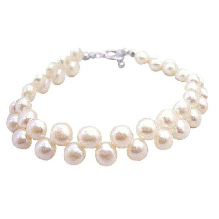 Double Row Freshwater Pearls Bracelet Potato Shaped Pearls Bracelet