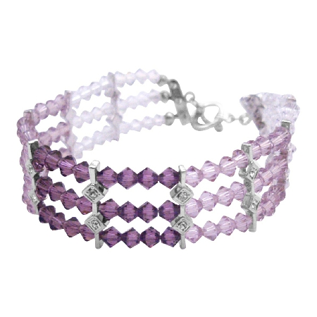 White Opal Crystal Bracelet w/ Light & Dark Amethyst Crystals Bracelet