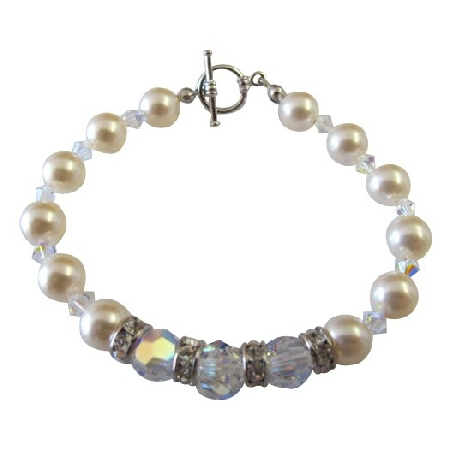 AB Crystals Cream Pearls Bracelet Bridal Bridesmaid Jewelry Bracelets