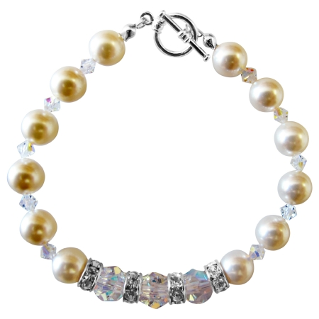 Clear Crystal Cream Pearls Bracelet Pearls & Crystal Bracelet w/ Simulated Diamond Silver Rondells