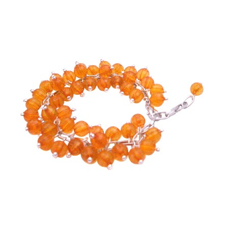 Orange Cat Eye Bracelet Multi Tiny Orange Cat Eye Beads Bracelet