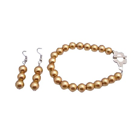 Golden Pearls Bracelet & Earrings Set Flower Clasp Bracelet