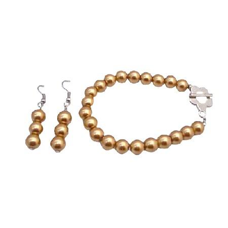 Golden Pearls Bracelet & Earrings Set Flower Clasp Bracelet