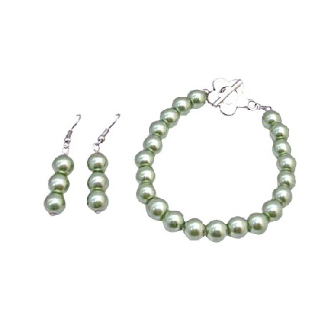 Light Green Pistachu Pearls Bracelet & Earrings Set w/ Flower Clasp