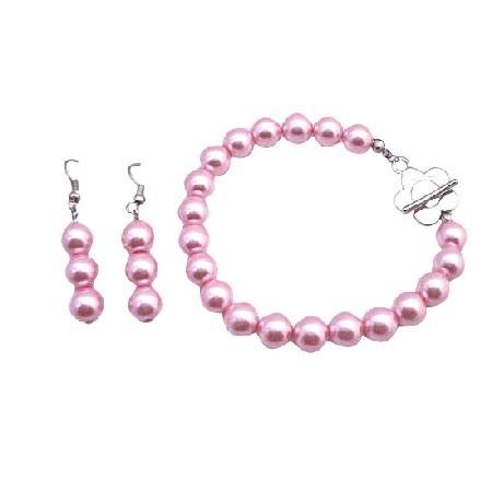 Bracelet & Earrings Set In Pink Pearls Flower Clasp Bracelet