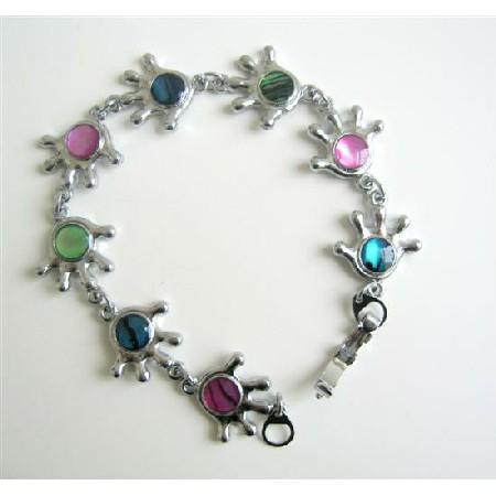 Multi Abalone Shell Bracelet Abalone Beads Embedded In Hands Bracelet