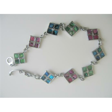 Abalone Shell Bracelet Embedded Abalone Beads In Square Box Bracelet